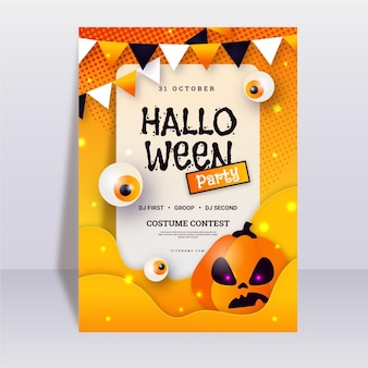 Flat halloween party poster template with pumpkin