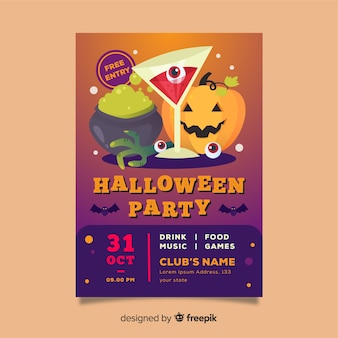 Flat halloween party poster template