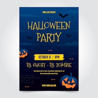 Плоский плакат хэллоуин