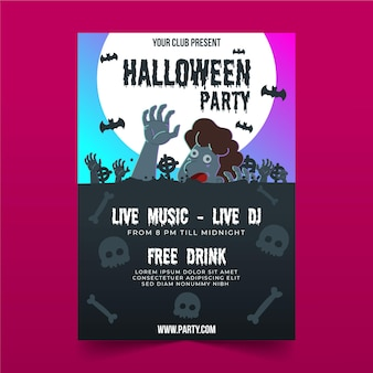 Flat halloween party poster