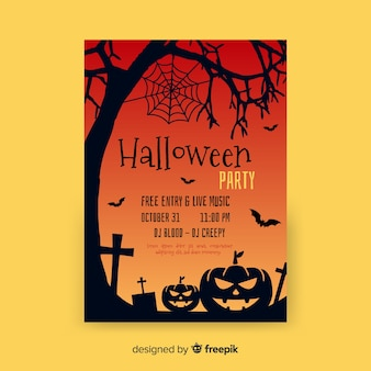 Flat halloween party template
