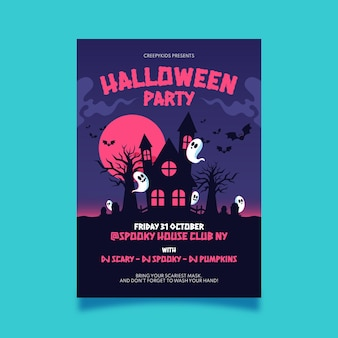 Flat halloween party vertical poster template