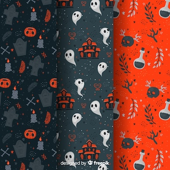 Flat halloween pattern collection goth elements