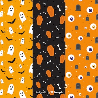 オレンジ色の色合いのフラットハロウィーンパターンコレクション