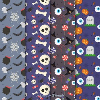 Flat halloween pattern collection