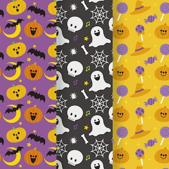 Flat halloween patterns collection