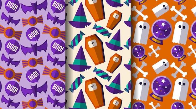 Коллекция плоских узоров на хэллоуин