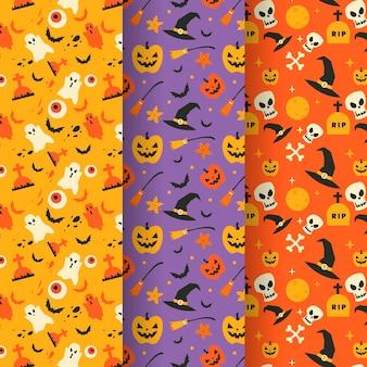Flat halloween patterns concept