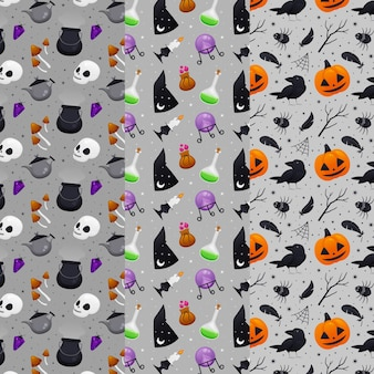 Flat halloween patterns concept