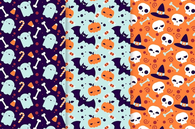 Flat halloween patterns