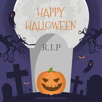 Flat halloween pumpkin in the cemetery