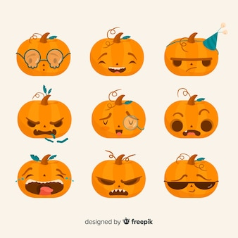 Flat halloween pumpkin collection