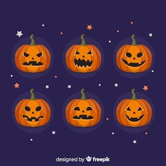 Плоская коллекция хэллоуин тыква