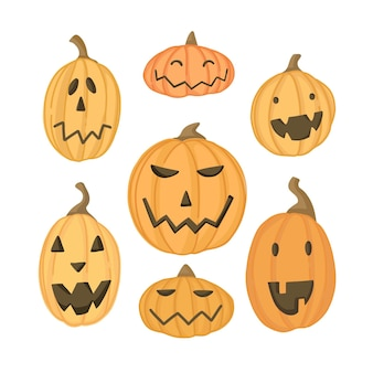 Плоская коллекция тыкв на хэллоуин