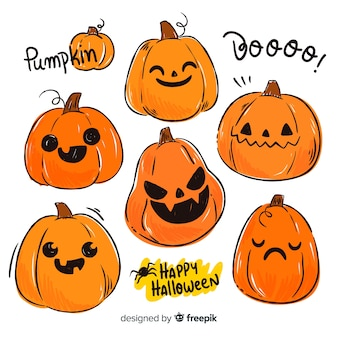 Flat halloween pumpkin faces collection