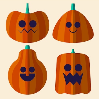 Flat halloween pumpkins collection