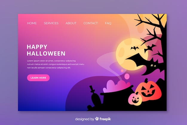 Flat halloween and pumpkins landing page