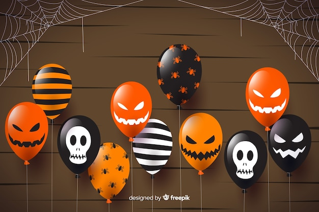 Flat halloween sale background with balloons