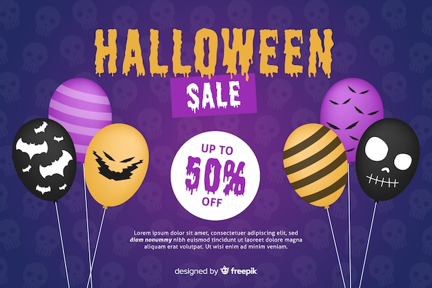 Flat halloween sale background with discount