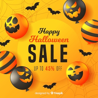 Flat halloween sale background