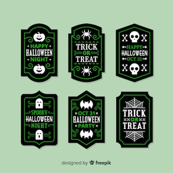 Flat halloween sale badge collection in green