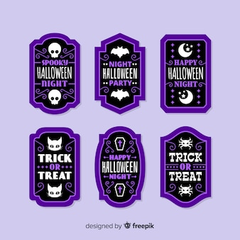 Flat halloween sale badge collection in purple