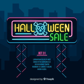 Flat halloween sale banner lights
