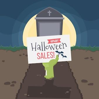Flat halloween sale concept