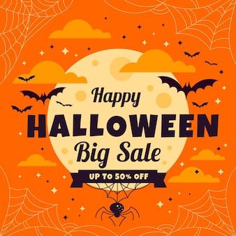 Flat halloween sale illustration