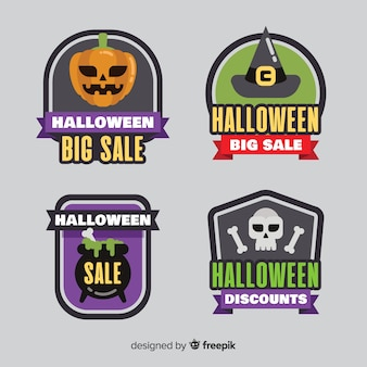 Flat halloween sale label and badge collection