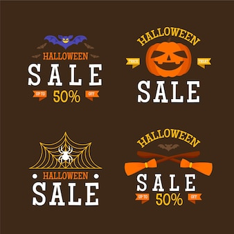 Flat halloween sale labels collection