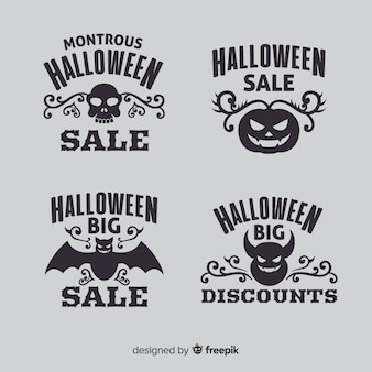 Flat halloween sale logo collection
