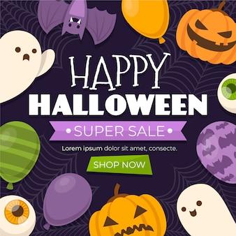 Плоская распродажа на хэллоуин рекламная иллюстрация