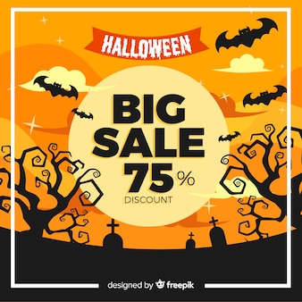 Flat halloween sale with bats in a graveyard