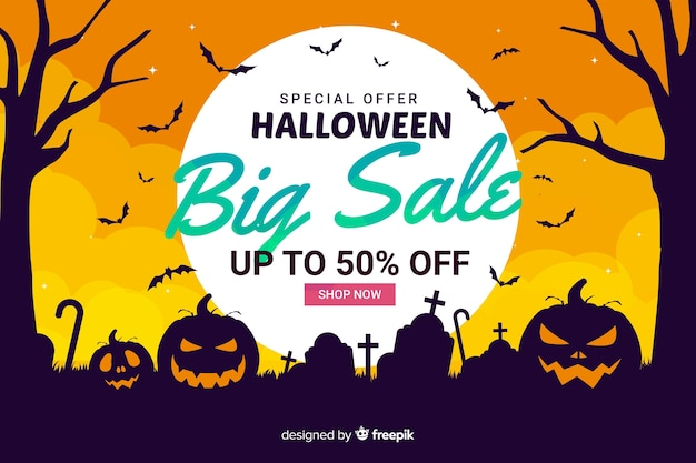 Flat halloween sale with pumpkins and trees
