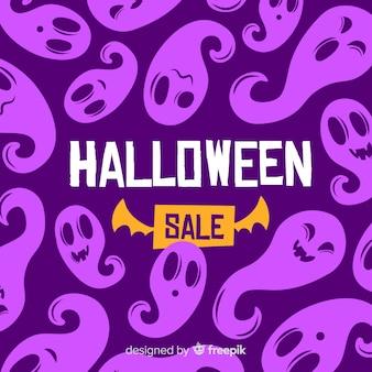 Flat halloween sale with purple ghosts