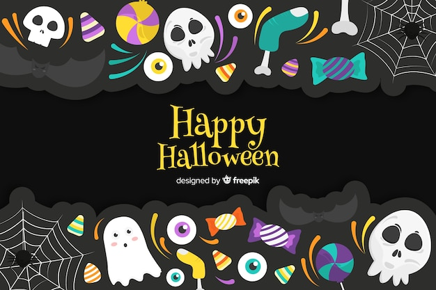 Flat halloween scary stickers background