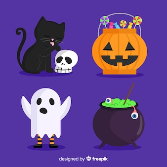 Flat halloween set of cute elements on blue background