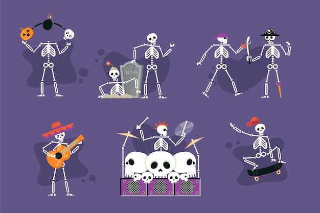 Flat halloween skeletons collection