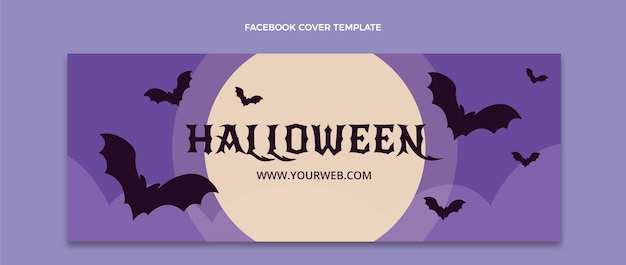 Flat halloween social media cover template