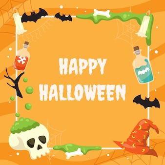 Flat halloween social media frame template