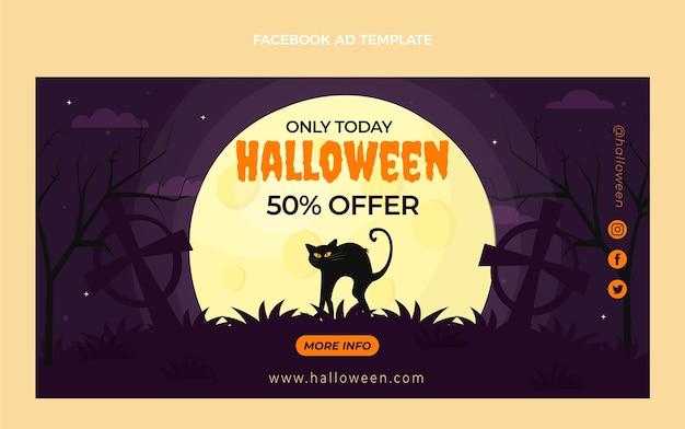 Flat halloween social media promo template