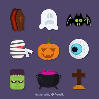 Flat halloween spooky element collection
