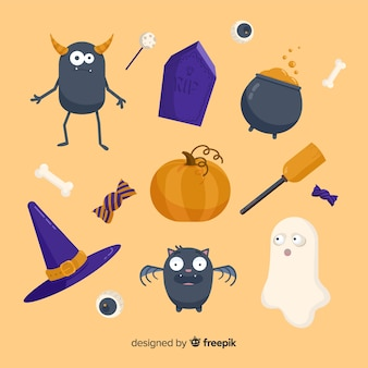Flat halloween spooky elements collection