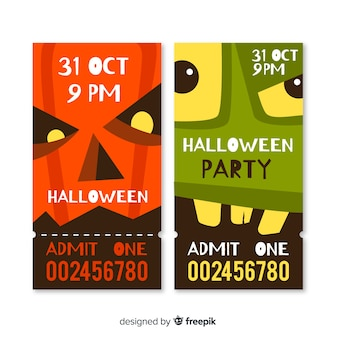 Flat halloween tickets of close-up monster faces