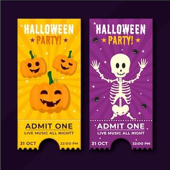 Illustrazione di biglietti di halloween piatto