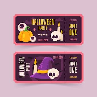 Flat halloween tickets set