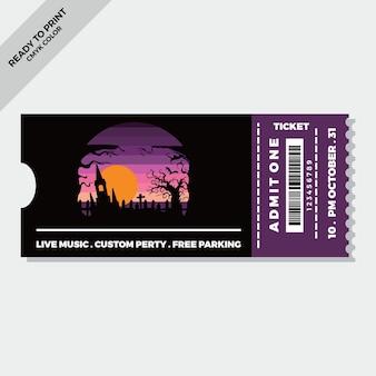Flat halloween tickets template