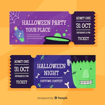 Flat halloween tickets with melting pot and zombie