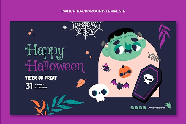 Flat halloween twitch background